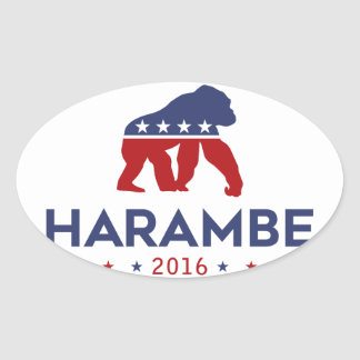 Party Animal Harambe Oval Sticker