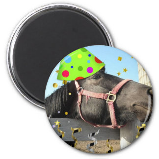 Party Animal Horse 2 Inch Round Magnet