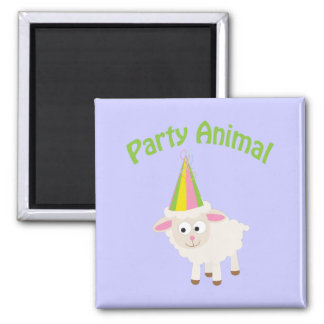 Party Animal Lamb Square Magnet