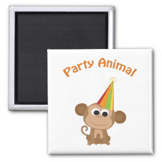 Party Animal! Monkey Square Magnet