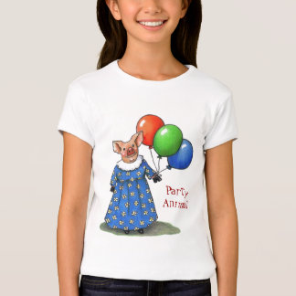 Party Animal: Piggy With Balloons: Color Pencil T-Shirt