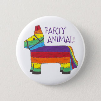 Party ANIMAL Rainbow Donkey Piñata Birthday Fiesta 2 Inch Round Button