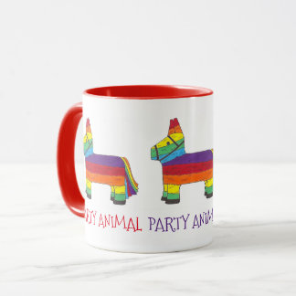 PARTY ANIMAL Rainbow Donkey Piñata Birthday Fiesta Mug