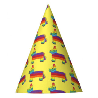 Party ANIMAL Rainbow Donkey Piñata Birthday Fiesta Party Hat