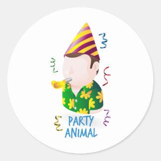 Party animal round sticker