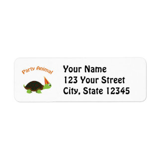 Party Animal Turtle Return Address Label