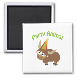 Party Animal Yak Square Magnet