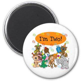 Party Animals 2nd Birthday 2 Inch Round Magnet
