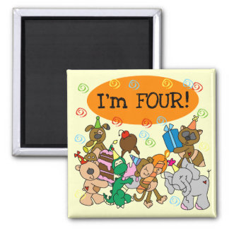 Party Animals 4th Birthday Tshirts and Gifts Refrigerator Magnets