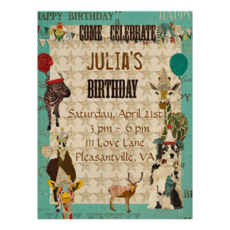 Party Animals Birthday Invitation