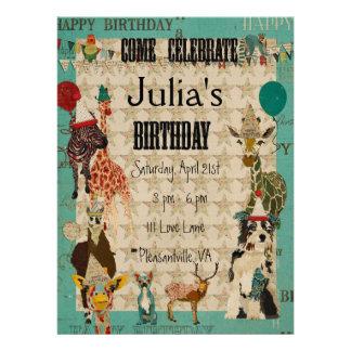 Party Animals Birthday Invitation Black Text