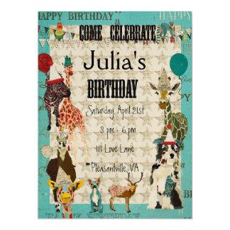 "Party Animals Birthday Invitation Black Text 6.5"" X 8.75"" Invitation Card"