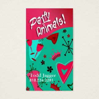 """Party Animals"" - Party Planner, Event Organizer Business Card"