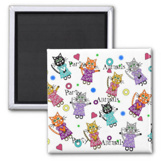 Party Animals Square Magnet