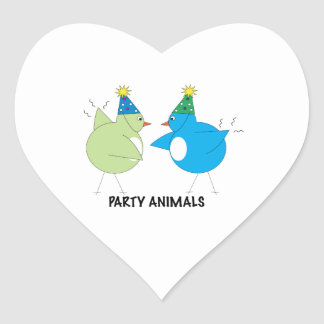 Party Animals Heart Stickers
