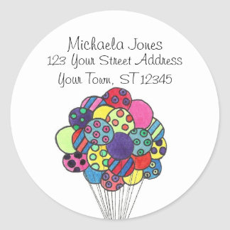 Party Balloons Labels Round Sticker