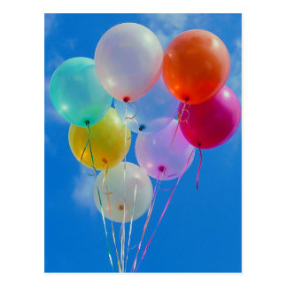 Party Balloons with blue sky Postcard