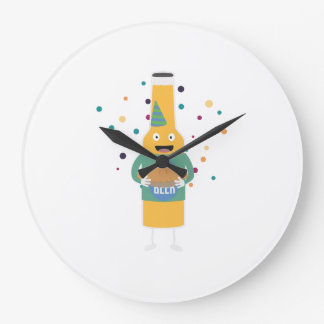 Party Beer Bottler with Cake Z4zzo Large Clock