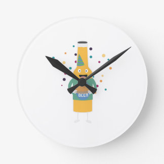 Party Beer Bottler with Cake Z4zzo Round Clock