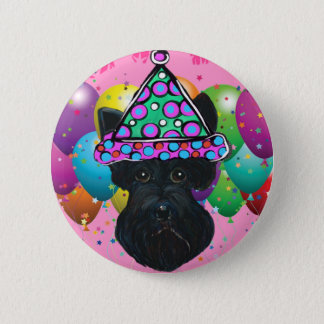 Party Black Scottish Terrier 2 Inch Round Button