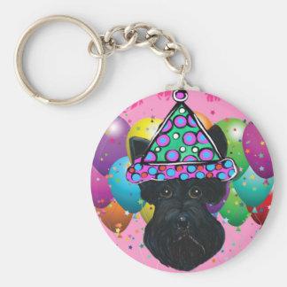 Party Black Scottish Terrier Basic Round Button Keychain