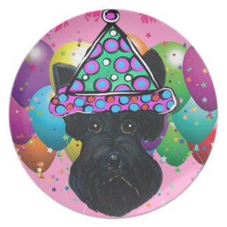 Party Black Scottish Terrier Plate