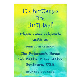 """Party!  Blue and Yellow Watercolors Birthday 5"""" X 7"""" Invitation Card"""