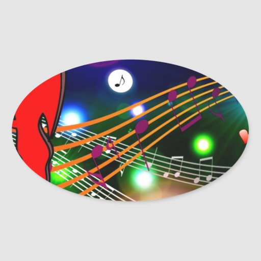 PARTY CLUB DISCO MUSIC FUN VECTORS KISSING backgro Oval Stickers