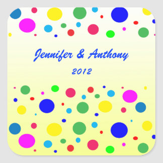 Party Colors Wedding Square Sticker
