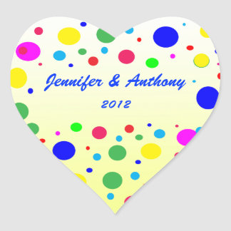 Party Colors Wedding Heart Sticker