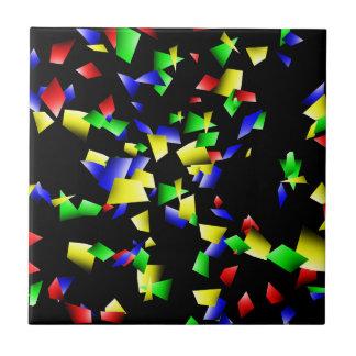Party Confetti - Black Background Tile
