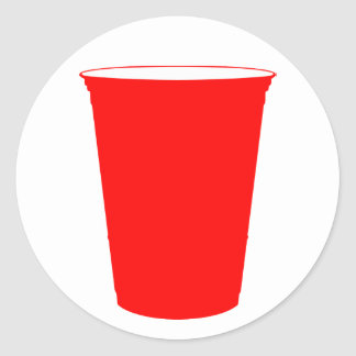 party cup classic round sticker