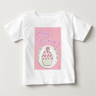 Party Cupcake Pink Happy Birthday Baby T-Shirt