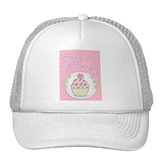 Party Cupcake Pink Happy Birthday Trucker Hat