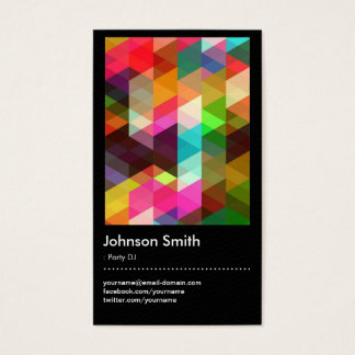 Custom party dj business cards zazzle party dj colorful mosaic pattern business card reheart Image collections