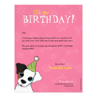 Party Dog Paws & Bones | Birthday Party Invitation Letterhead