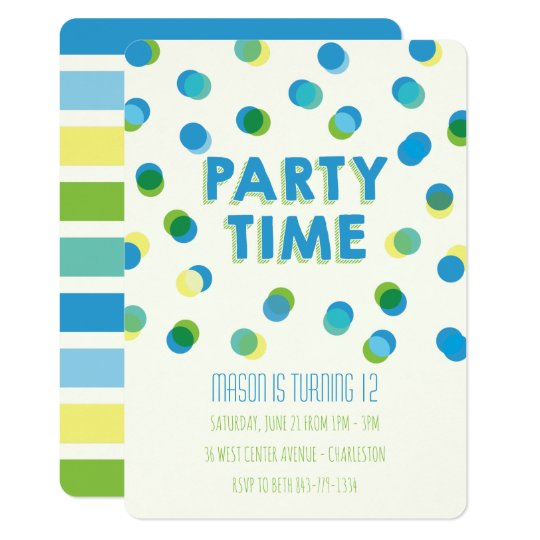 Party Dots Kids Birthday Invitation