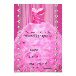 """Party Dress Pearls Hot Pink Quinceanera RSVP 3.5"""" X 5"""" Invitation Card"""