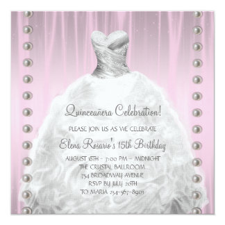 """Party Dress Pearls Pink Quinceanera 5.25"""" Square Invitation Card"""