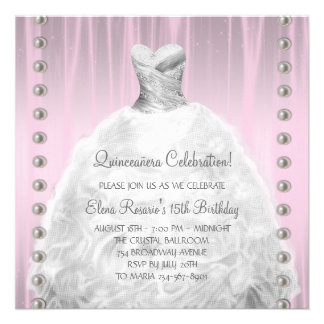Party Dress Pearls Pink Quinceanera Announcements