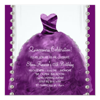 Party Dress Pearls Purple Quinceanera Invitations