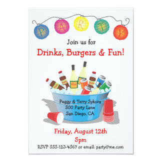 Party Drinks Invitation with wine, soda and beer