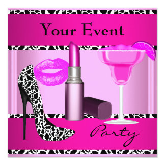Party Event Shoes Pink Lipstick Card