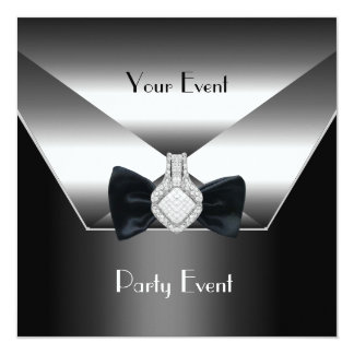 Party Event Silver Black Tie Diamond Jewel Card