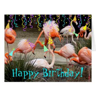 Party Famingos Happy Birthday Card