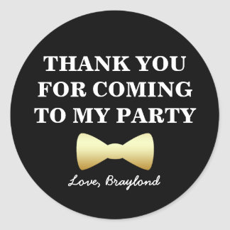 Party Favor Stickers, Black and Gold with Bow Tie Round Sticker