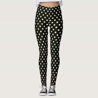 Party Festive lemon polka dots on black Leggings