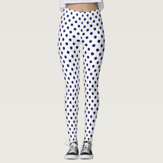 Party Festive navy blue polka dots on white Leggings