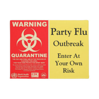 Party Flu Warning Doormat