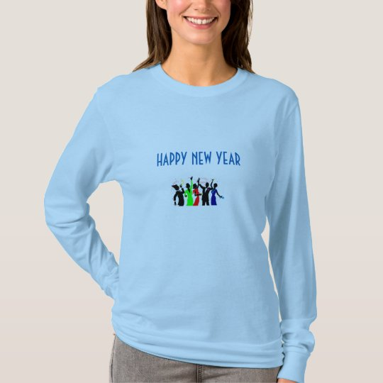 PARTY FOR NEW YEAR- LIGHT BLUE LONG BASIC T-SHIRT